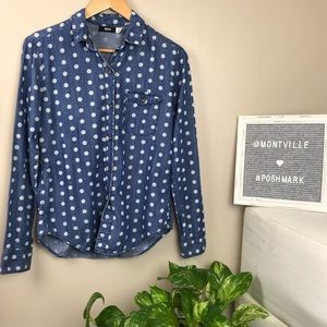 BDG Denim With Polka Dots Button Down Shirt Small